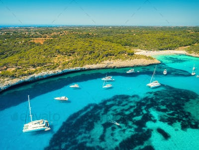 Aerial view of boats, luxury yachts on the sea in sunny day