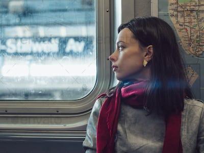 Attractive girl in subway