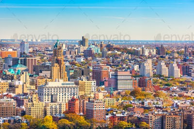 Brooklyn, New York, USA cityscape over Brooklyn Heights