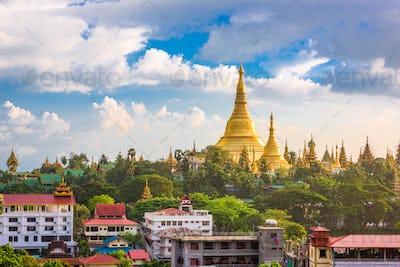 Yangon, Myanmar skyline with Shwedagon Pagoda