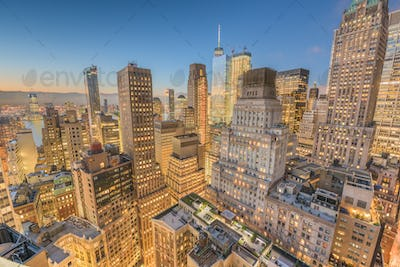 New York City financial district Aerial View