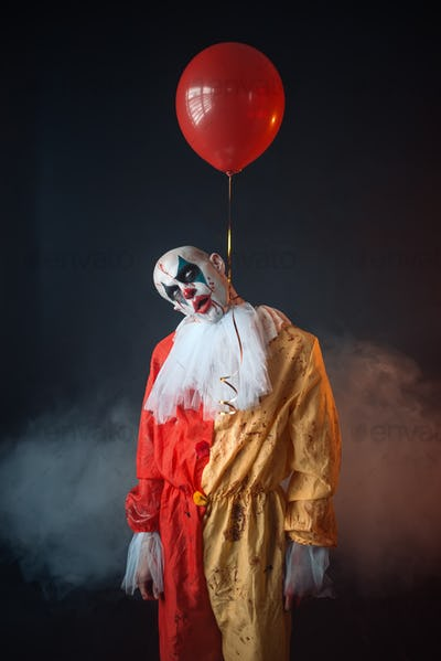 Mad bloody clown hung himself on air balloon