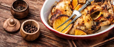 Roast chicken with orange