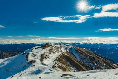 New Zealand mountain panorama and ski slopes as seen from Corone