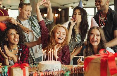 Happy birthday girl with friends.