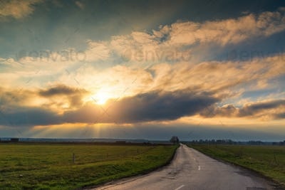 Sunrays over the country road