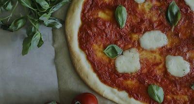 Homemade vegan Margherita pizza food photography