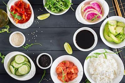 Ingredients for cooking Hawaiian salmon fish poke bowl