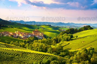 Langhe vineyards panorama, Barolo village, Piedmont, Italy Europ
