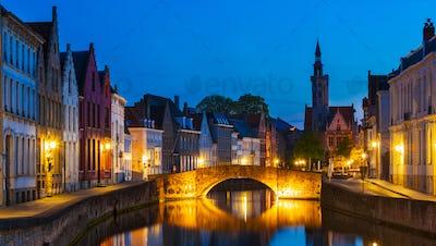 Bruges night cityscape, Belgium
