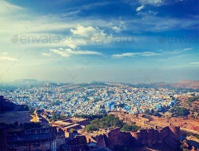 Aerial panorama of the blue city Jodhpur. India