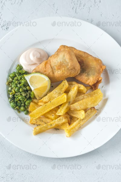 Portion of fish and chips