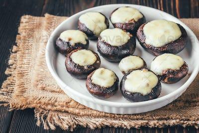 Baked mushrooms stuffed with mozzarella
