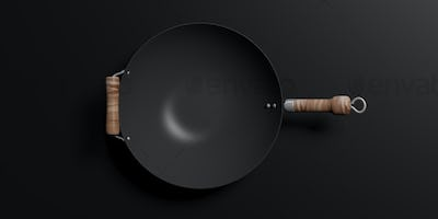 Empty wok with wooden handles isolated on black background. 3d illustration
