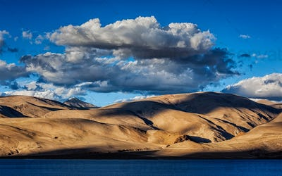 Himalayas and Lake Tso Moriri on sunset, Ladakh