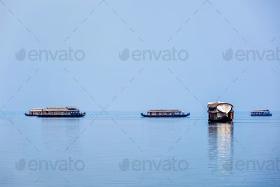 Houseboats in lake. Kerala, India