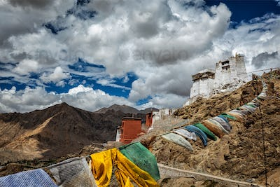 Leh gompa and lungta prayer flags, Ladakh