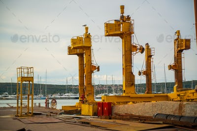 Shipyard in Punat harbor, Krk Island , Croatia