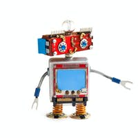 Creative design robot on white background. Red head robot toy with empty blue screen, copy space