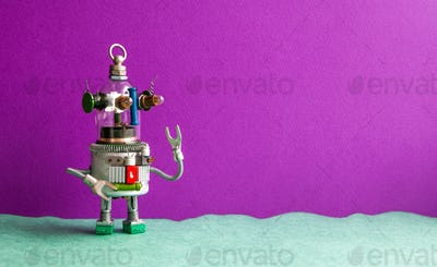 Funny glass head ufo robot on a violet green background.