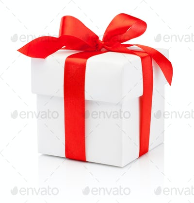 White gift box tied burgundy ribbon bow Isolated on white backgr