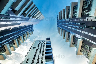 Low perspective of modern apartment blocks