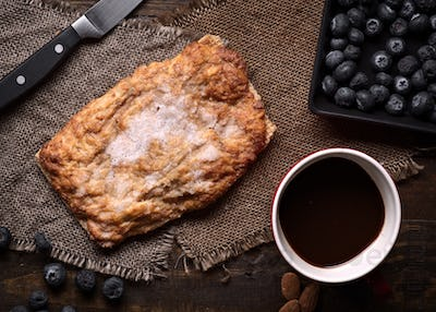 breakfast with sweet lard cakes on rustic wood, typical product of Navarra, Spain