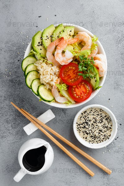 Hawaiian poke bowl with shrimps