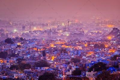 Aerial view of Jodhpur in twilight