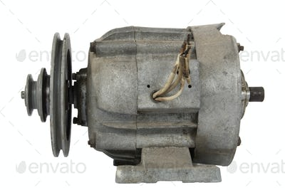 Old electric motor with a pulley (isolated)
