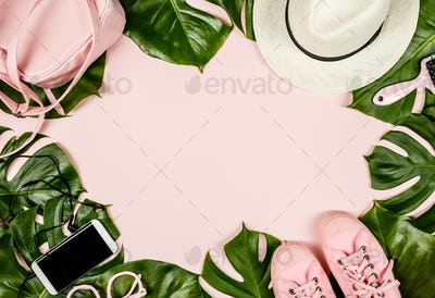 Beautiful flat lay with trendy accessories, close up