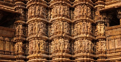 Famous stone carving sculptures of Khajuraho