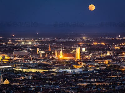 Night aerial view of Munich, Germany