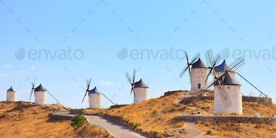 Windmills of Consuegra landmark, panorama. Castile La Mancha, Spain, Europe.