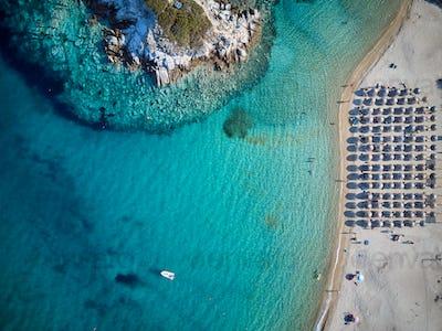 Beautiful beach top aerial view drone shot