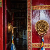 Open door of Spituk monastery. Ladakh, India