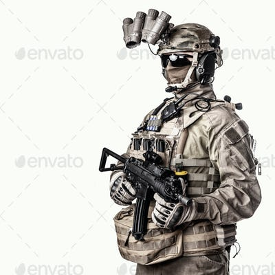 Special operations fighter studio shoot on white