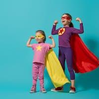 children playing superhero