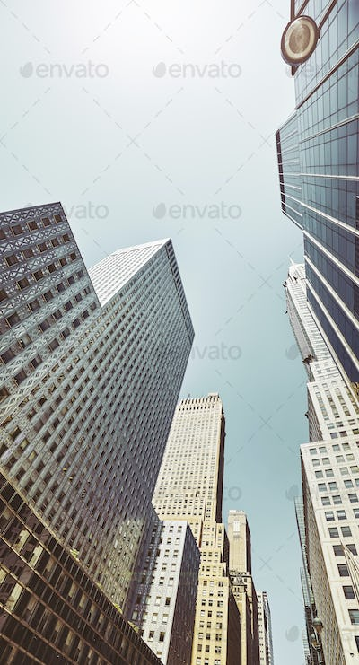 Looking up at Manhattan buildings, NYC.