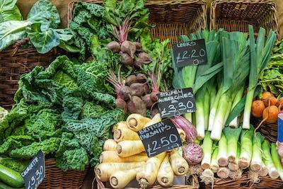 British parsnips, leek, savoy cabbage and other vegetables