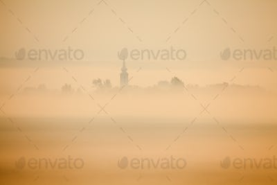 Church in misty morning