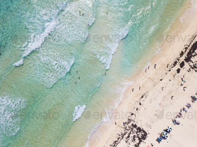 Aerial straight down view of beach on Cozumel, Mexico.