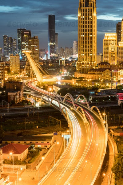 curved city road at night