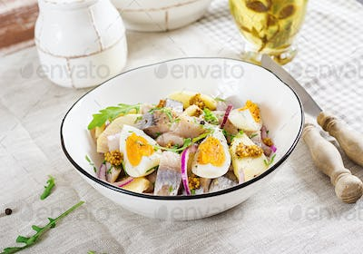 Traditional  salad of salted herring fillet, fresh apples,  red onion  and eggs. Kosher food.