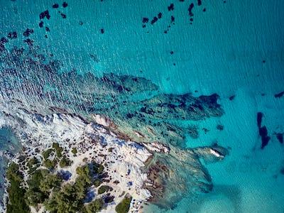 Beautiful rocky coastline aerial view