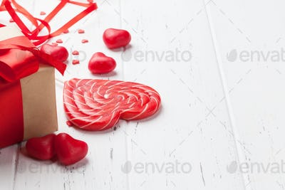 Valentine's day greeting card with candy