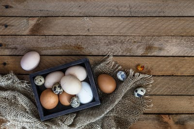 Farm eggs on wooden table background, copy space