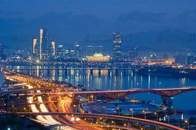 Seoul cityscape in twilight, South Korea
