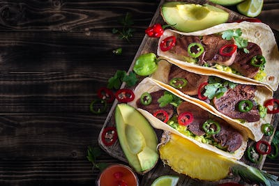 Beef tongue tacos background