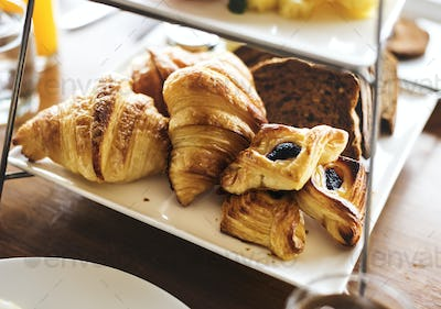 Homemade pastries at a hotel breakfast